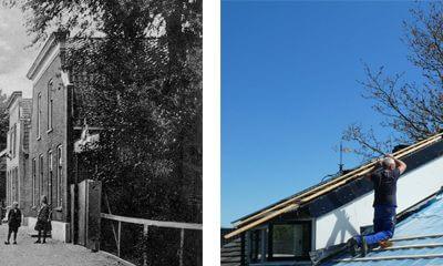 Medewerkers van De Rokende Turf het dak op